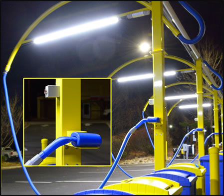 car wash equipment vacuum stanchions at night with options