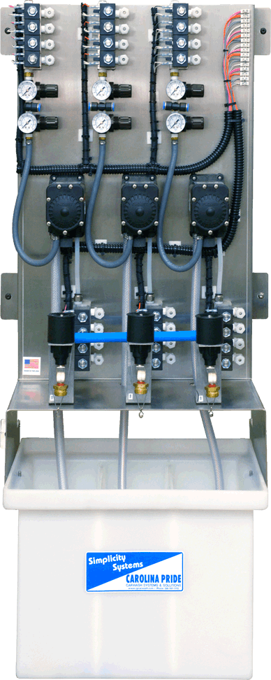 three solution dispensing system simplicity